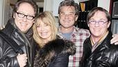 Hollywood golden couple Goldie Hawn and Kurt Russell enthusiastically greet Race stars James Spader and Richard Thomas backstage after the performance.