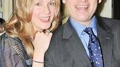 Stage spouses (in Act One) Christina Kirk and Frank Wood are all smiles on opening night.