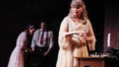 Keira Keeley as Laura Wingfield, Patch Darragh as Tom Wingfield and Judith Ivey as Amanda Wingfield in The Glass Menagerie.