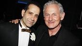 Tenor stars then and now: Current leading man Tony Shalhoub is greeted by original star Victor Garber.
