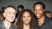 David Greenspan (pictured with Rent vets Tracie Thoms and Rodney Hicks) does a priceless turn as Billy Crudups agent in this new play about a banned book.