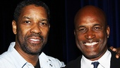 Fences star Denzel Washington congratulates his director, Kenny Leon, on his Julia Hansen Award for Excellence in Directing Award.