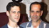 More Chianti, please! Wait—that's Lend Me a Tenor leads Justin Bartha and Tony Shalhoub, ready for the unveiling of their portrait at Tony's di Napoli.