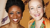 Tony nominees Montego Glover (Memphis) and Katie Finneran (Promises, Promises) dazzle in brightly colored dresses.