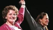 Brenda Blethyn and Edie Falco join hands for the curtain call.