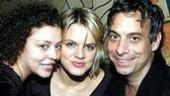 Amy Spanger (center) with Laugh Whore choreographer Lisa Leguillou and director Joe Mantello.