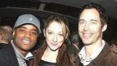 Show People ingenue Judy Greer flanked by her cast mates from the TV show Love Monkey, Larenz Tate (L) and Tom Cavanagh (R).