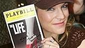 Wedding Singer's rocker chick Felicia Finley signs a program from when she appeared on Broadway in 1997's The Life.