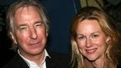 Dircetor Alan Rickman with Laura Linney. As an actor, Rickman appeared with Linney in the film Love Actually.