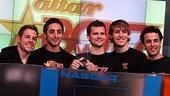 Photo Op - Altar Boyz bless the NASDAQ - Landon Beard - Zach Hanna - Eric Schneider - Carlos Encinais - Kyle Dean Massey (at podium)