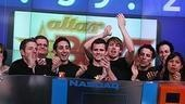 Photo Op - Altar Boyz bless the NASDAQ - Landon Beard - Zach Hanna - Eric Schneider - Carlos Encinais - Kyle Dean Massey (rang bell)