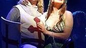 Hannah Waddingham with Christopher Sieber in a scene from Spamalot