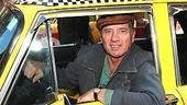 Star Tom Wopat arrives at the Walter Kerr Theatre in style! (His character is a cab driver, natch.)