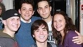 Spring awakeners past and present (clockwise from left): Gerard Canonico, former swing Robert Hager, Skylar Astin, show alum Lauren Pritchard and Matt Doyle.