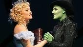 Kendra Kassebaum as Glinda and Kerry Ellis as Elphaba in Wicked.