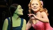 Kerry Ellis as Elphaba and Kendra Kassebaum as Glinda in Wicked.