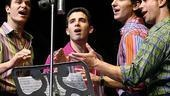 Matt Bogart as Nick Massi , Jarrod Spector as Frankie Valli, Sebastian Arcelus as Bob Gaudio and Dominic Nolfi as Tommy DeVito in Jersey Boys.