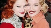 White Christmas's Kerry O'Malley and Meredith Patterson bundle up and get cheeky outside the Marquis Theatre.