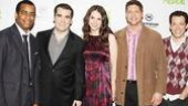 Shrek stars Daniel Breaker, Brian dArcy James, Sutton Foster, Christopher Sieber and John Tartaglia say Good morning, New York!