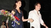 Onstage lovebirds Katie Holmes and Patrick Wilson step up for their opening night curtain call.