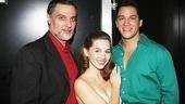 Robert Cuccioli, who read the part of Lucifer, poses with Jessica Grové and Nicholas Rodriguez, who voiced the roles of Sera and Tyriel, respectively.