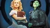 Alli Mauzey as Glinda and Nicole Parker as Elphaba in Wicked.