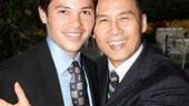 And the party is in full swing! Broadway alum Jason Tam gets a squeeze from Tony Award winner and fellow stage veteran B.D. Wong.