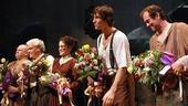 Curtain call bouquets brighten up the costumes of Desire's Daniel Stewart Sherman, Brian Dennehy, Carla Gugino, Pablo Schreiber and Boris McGiver.