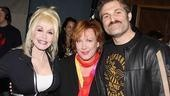 Devious onstage duo Kathy Fitzgerald and Marc Kudisch smile with the lovely Dolly Parton.
