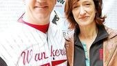 Costars Gregory Jbara and Haydn Gwynne put on their game face. Their team is, apparently, the Billy Elliot Wankers.