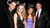 Carrie cast members Ben Thompson, Jeanna De Waal, Christy Altomare and Derek Klena get decked out for opening night.