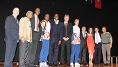 Magic/Bird playwright Eric Simonson, Francois Battiste, Robert Manning Jr., Deirdre O'Connell, Kevin Daniels, Magic Johnson, Larry Bird, Tug Coker, producers Tony Ponturo and Fran Kirmser, director Thomas Kail and Peter Scolari line up for a group shot.