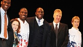 Robert Manning Jr., Deirdre O'Connell, Kevin Daniels and Tug Coker are proud to be joined by Magic Johnson and Larry Bird onstage at the Longacre Theatre.