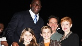 Magic/Bird star Peter Scolari gushes as his ladylove Tracy Shayne, whom appeared in Phantom of the Opera, and children Cali and Keaton join him onstage at the Longacre Theatre to meet Magic Johnson.