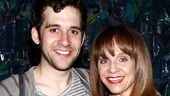 Stage and screen star Valerie Harper congratulates Peter and the Starcatcher's leading man Adam Chanler-Berat on bringing the story behind the story of Peter Pan to life on the Great White Way.