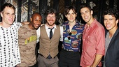 Spidey Power! Reeve Carney is flanked by his Spider-Man doppelgangers, stunt men Matthew Wilkas, Emmanuel Brown, Christopher Tierney, Adam Roberts and Craig Henningsen. 