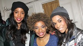 Kelly Rowland and Michelle Williams strike a pose with After Midnight showstopper Adriane Lenox.