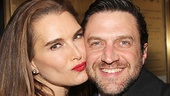 Brooke Shields gives Raul Esparza a smooch—the pair appeared together in the Los Angeles run of Leap of Faith.