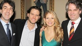 Composer Jason Robert Brown, Steven Pasquale, Kelli O'Hara and director Bartlett Sher come in close for a photo.
