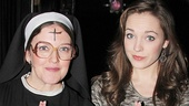 Disaster! star Jennifer Simard strikes a saintly pose with The Threepenny Opera's Laura Osnes.