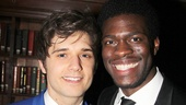 Fellow revolutionaries Andy Mientus and Kyle Scatliffe flash big smiles on opening night.