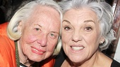 """The Grand Dame of Dish,"" gossip columnist Liz Smith, takes a snapshot with Mothers and Sons headliner Tyne Daly."