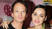 Backstage after the show, Hedwig star Neil Patrick Harris welcomes Katy Perry, who starred in The Smurfs and an episode of How I Met Your Mother with him.