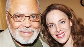 James Earl Jones, who will headline You Can't Take It With You this fall, greets Beautiful star Jessie Mueller backstage.