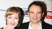 Married Matilda couple Lauren Ward (who plays Miss Honey) and director Matthew Warchus beam on the red carpet.