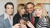 Barry Mann and Cynthia Weil toast their onstage counterparts, played by Jarrod Spector and Anika Larsen