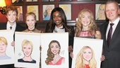Pippin stars Matthew James Thomas, Charlotte d'Amboise, Patina Miller and Rachel Bay Jones pose proudly with their new portraits alongside Sardi's president Max Klimavicius.