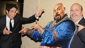 Aladdin headliner Adam Jacobs and director Casey Nicholaw have fun with a life-size cutout of James Monroe Iglehart as the Genie.