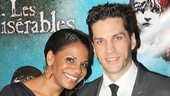 Five-time Tony winner Audra McDonald is on hand to celebrate with her husband, Les Miz star Will Swenson.