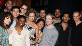 Memphis&#39; Montego Glover, Adam Pascal and Derrick Baskin get close to their starry well wishers at their swinging soiree.